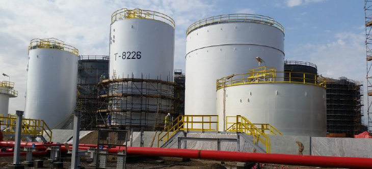 External & Internal coating of tanks for Sohar Refinery  Expansion  Project at Sohar, 2016, Client: Petrofac, End User: ORPIC