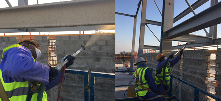 Cementous  Fire Proof Coating on steel structures for Sohar City Centre Project at Sohar, 2018, Client - LACECO